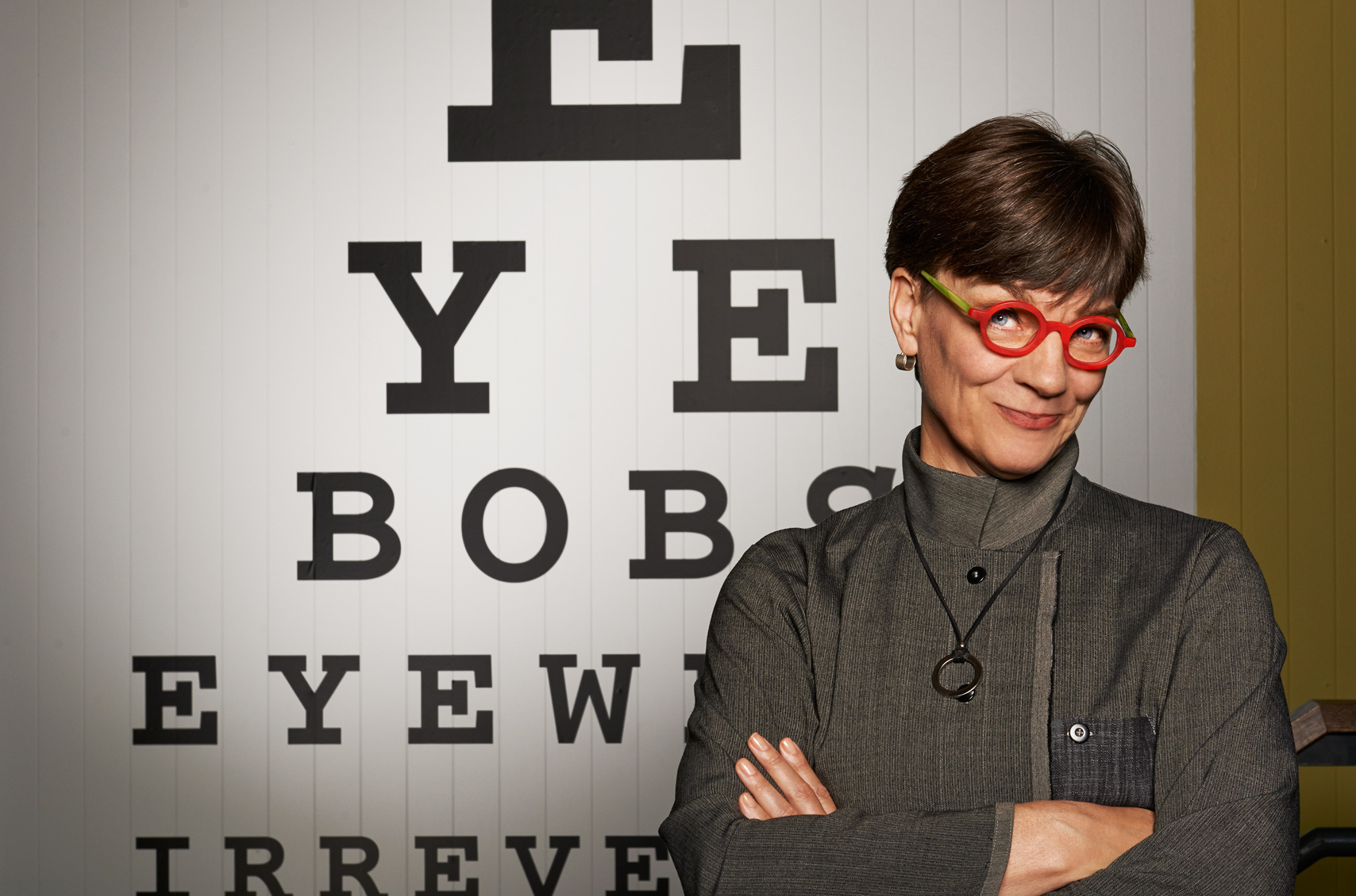 Sassy portrait of CEO and creator of Eyebobs