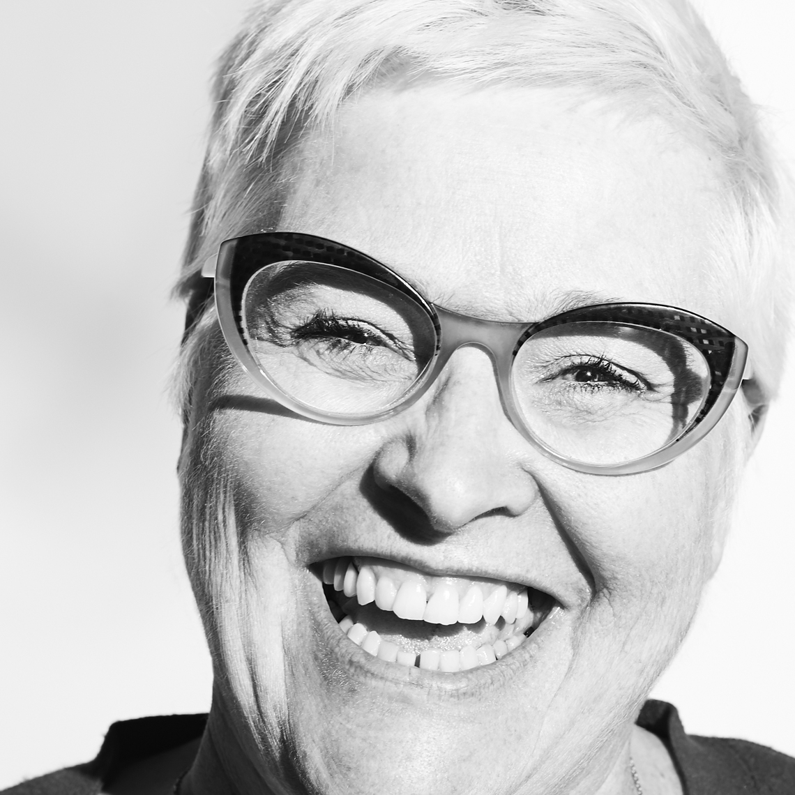 White hair white woman big glasses big laugh Black & White Portrait