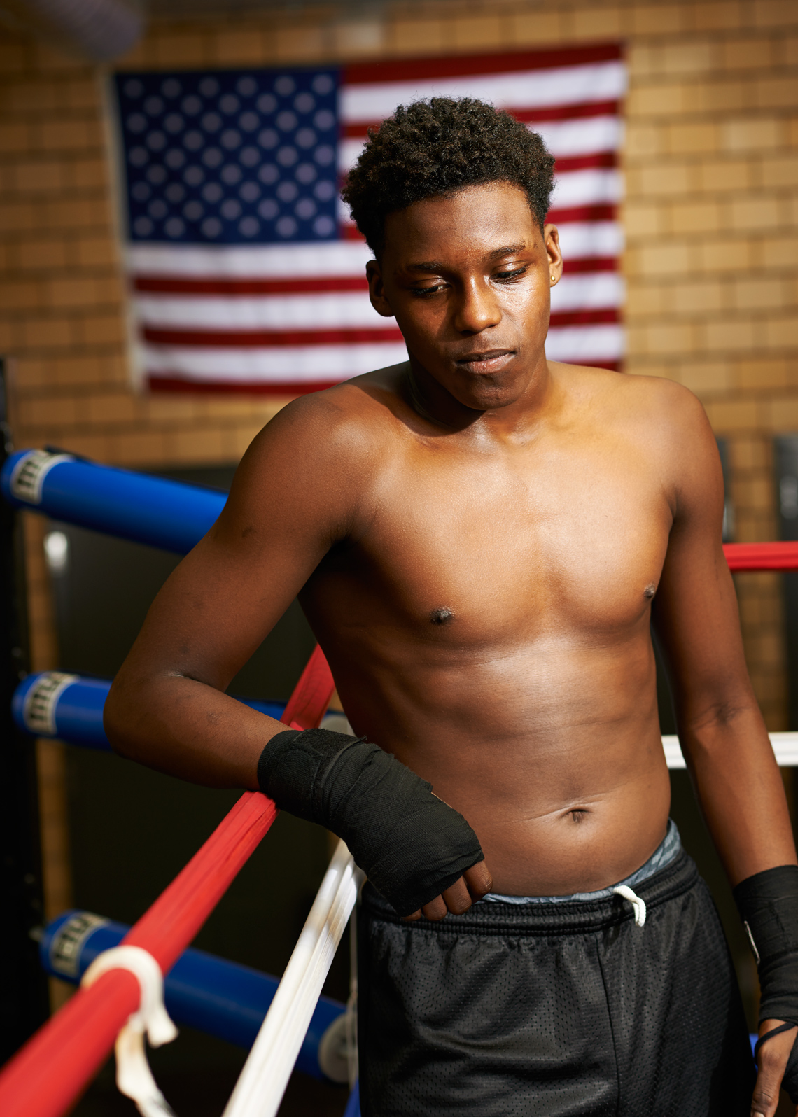 Quite moment African American Teen Boxer