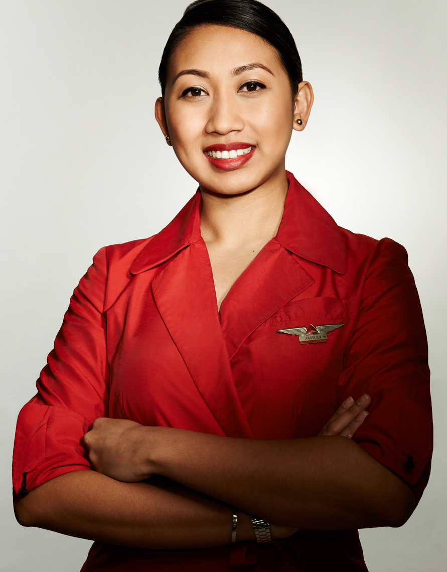 Delta Flight Attendent Asian Woman in Red