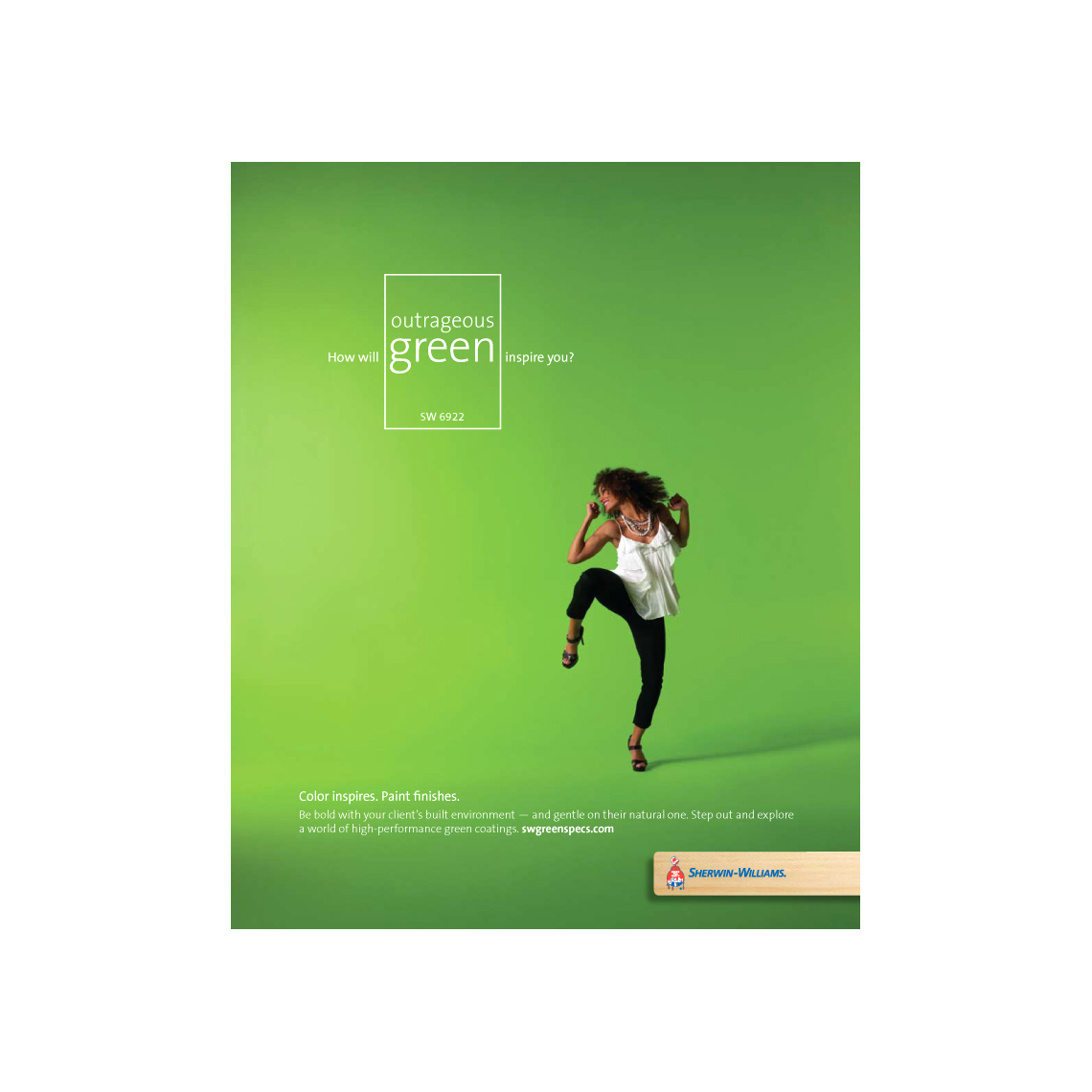 Brown Woman dancing Bright Green Space Sherwin Williams