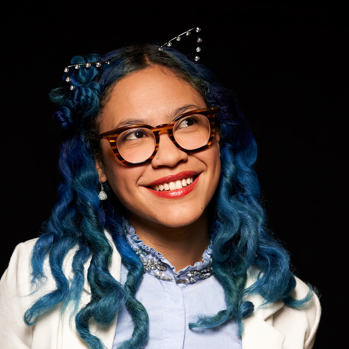 Ms Williams Millennial with Blue hair and cat ears