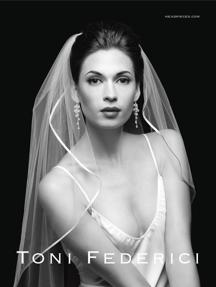 Black and White Woman Bride in Bridal Veil Tony Federicci Beauty