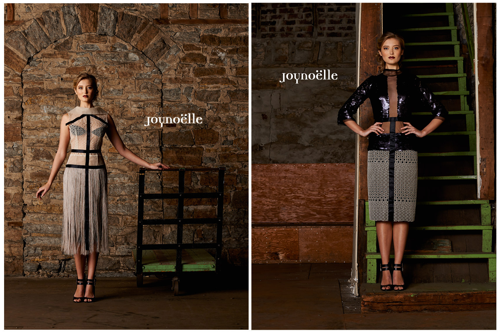 Joynoelle Fashion Beauty Gown Brick Wall Model
