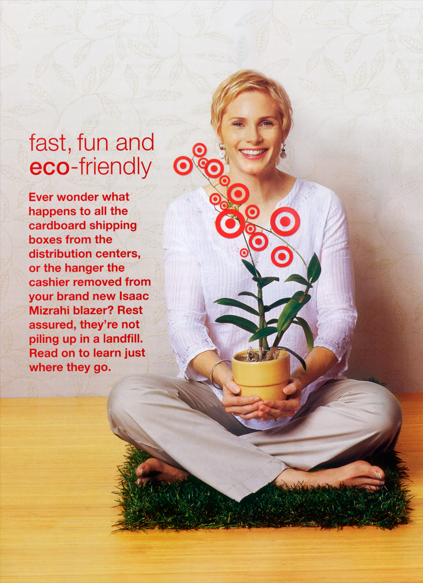 blonde female sitting on  indoor grass with a potted plant Target