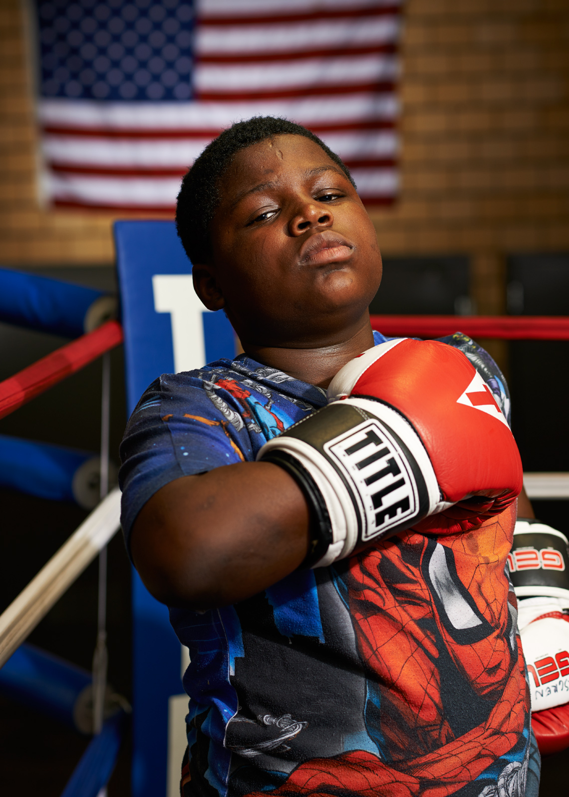 Proud African American Boxer Boy Red White and Blue