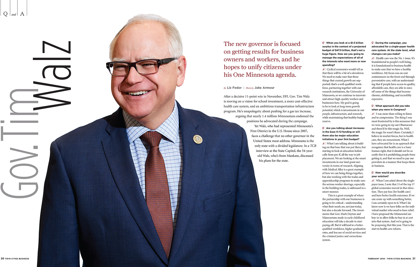 Minnesota Governor Tim Walz Twin Cities Business Magazine