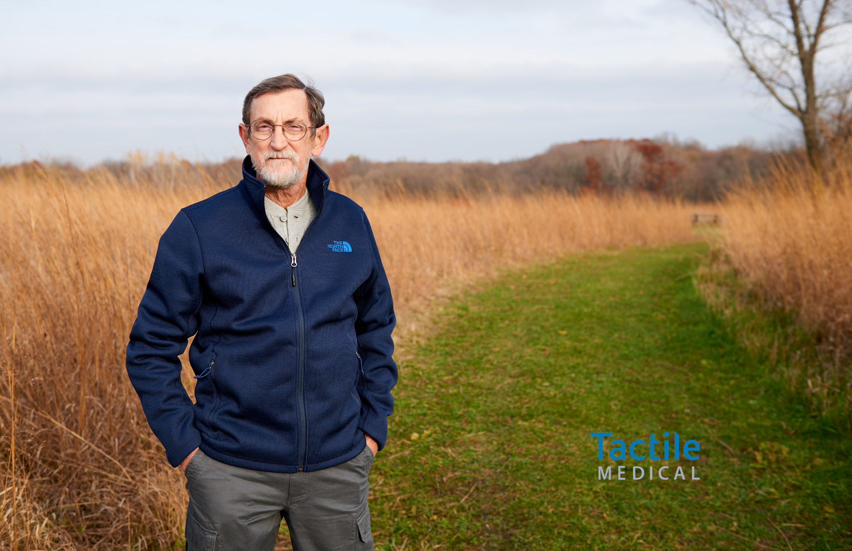 Older Bearded Man Outdoor Field Path Autumn Healthcare Tactile Medical
