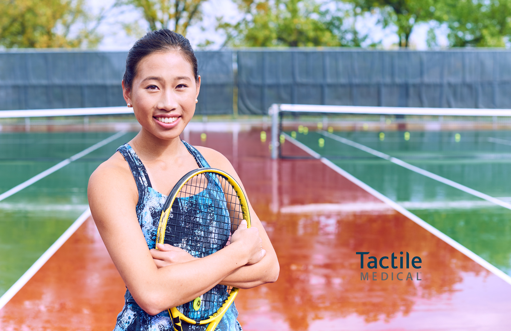 Young Asian Woman Tennis Player Court Racket Healthcare Tactile Medical