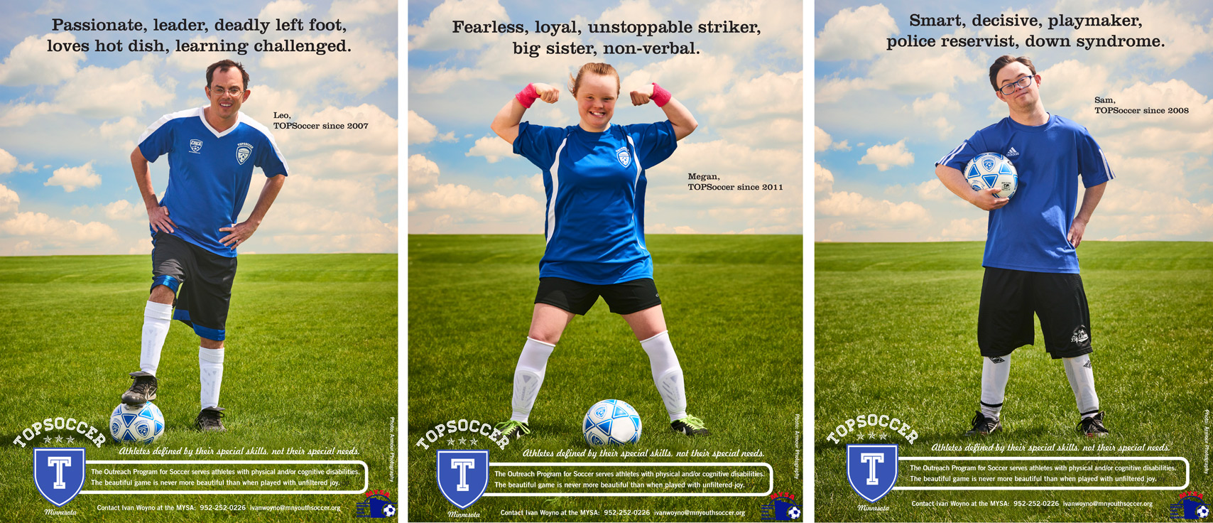 Top Soccer Down Syndrome woman on field soccer ball Strong